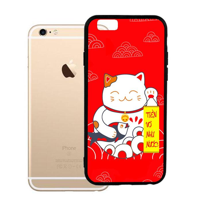 Ốp lưng viền TPU cao cấp dành cho iPhone 6 Plus - Mèo May Mắn 01