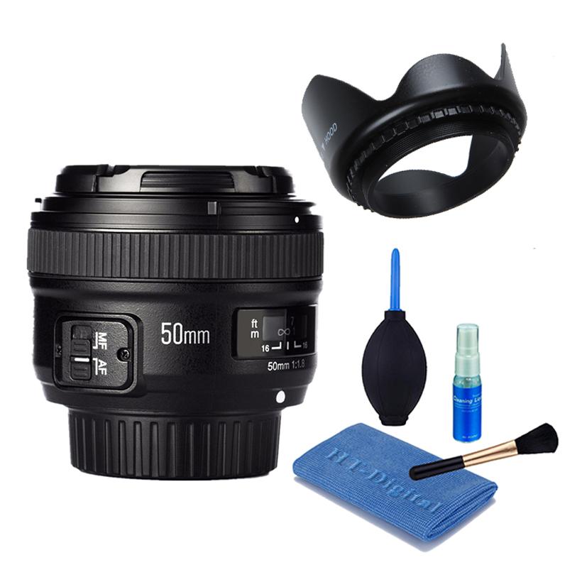 Ống kính Yongnuo 50 F1.8 cho Nikon (Kèm Lens hood + Bộ vệ sinh máy ảnh)
