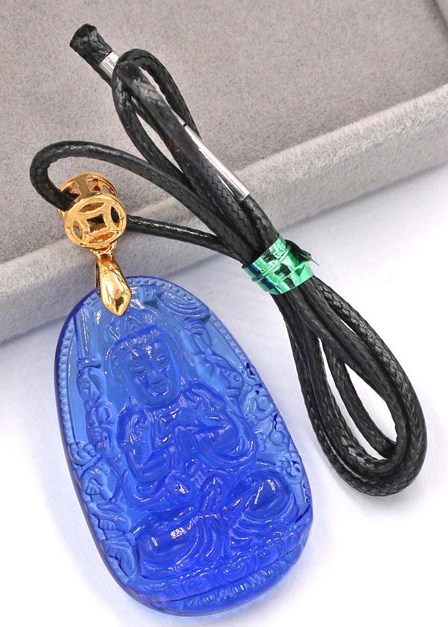 Vòng cổ Quan Âm Nghìn Tay Nghìn Mắt pha lê xanh 3.6 cm DFBXD8