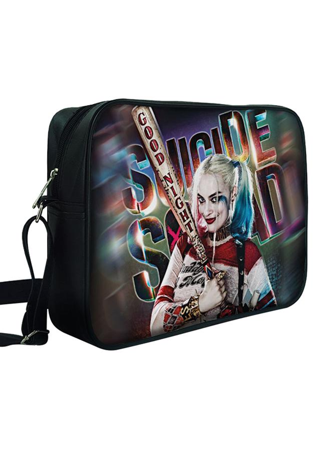 Túi Đeo Chéo Hộp Unisex In Hình Harley Quinn Cầm Gậy Bóng Chày - F318