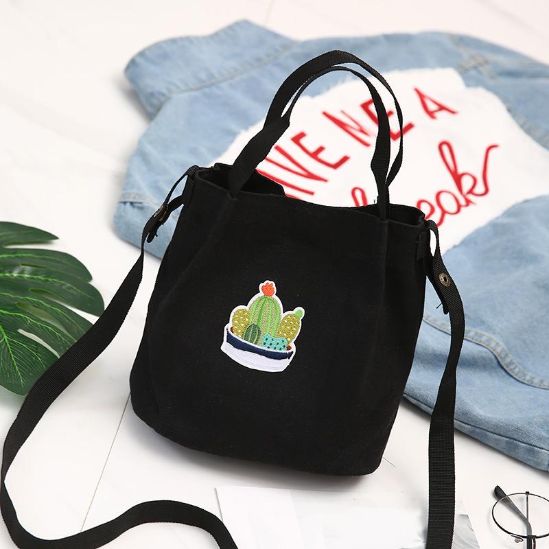 Women Canvas Handbag Shoulder Bag Prickly Pear Print Large Capacity Shopping Totes Crossbody Bag