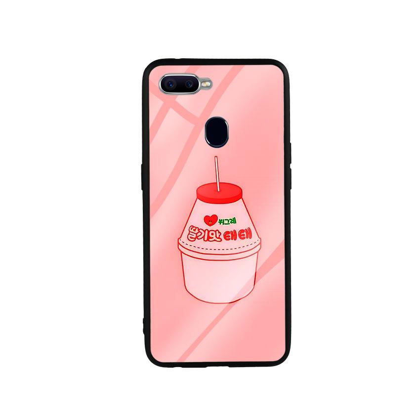 Ốp Lưng Kính Cường Lực cho điện thoại Oppo F9 - Tea Milk