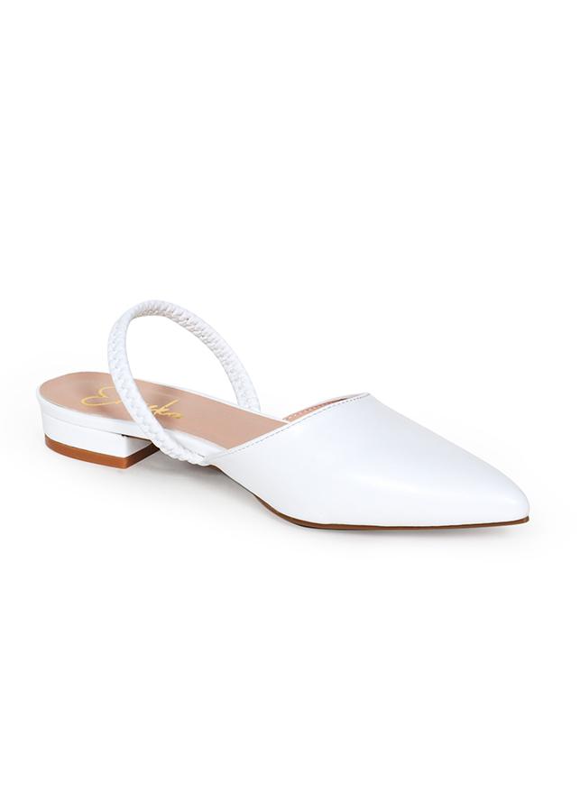 Giày Sandal Nữ Đế Bệt Mũi Nhọn Thời Trang Phối Dây Erosska EL002 (Màu Trắng)