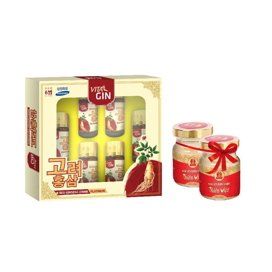 Hộp Nước Hồng Sâm Hàn Quốc Vital Gin Platinum (6 chai x 75ml) tặng 2 lọ YTV