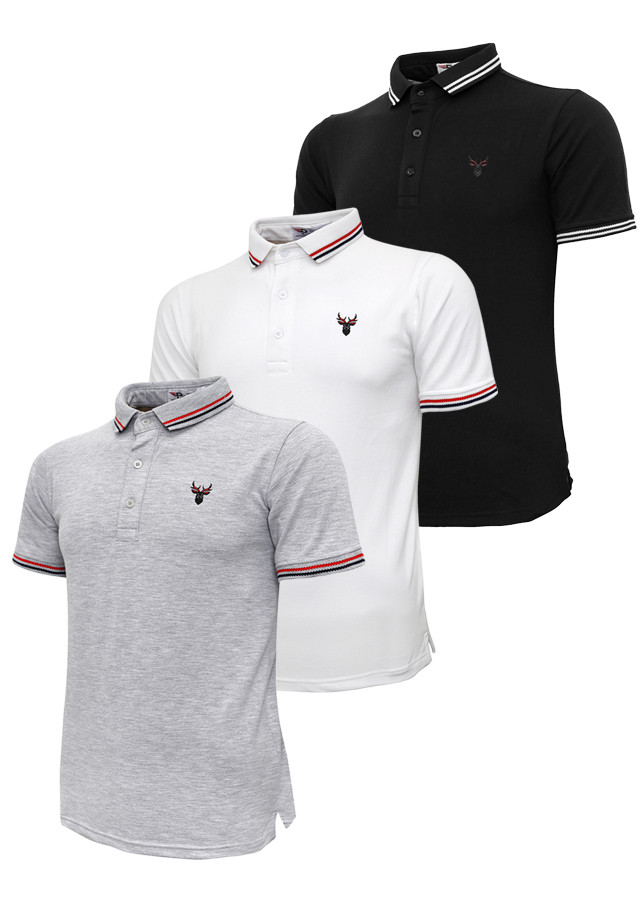 Bộ 3 áo thun nam cổ bẻ logo ép 3D chuẩn phong độ Pigofashion AHT16 xám, trắng, đen