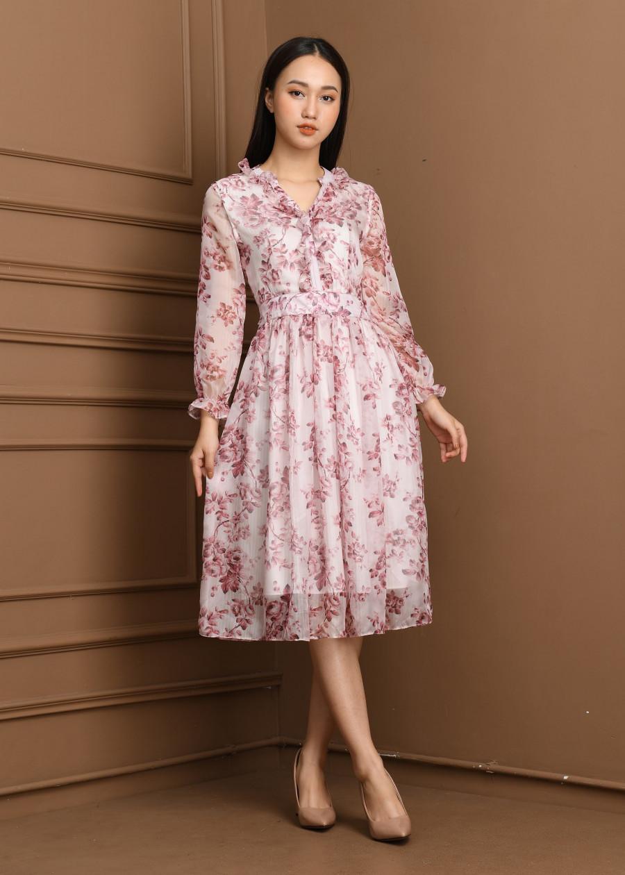Váy voan tơ hoa thưa nhí dài  VF2019014