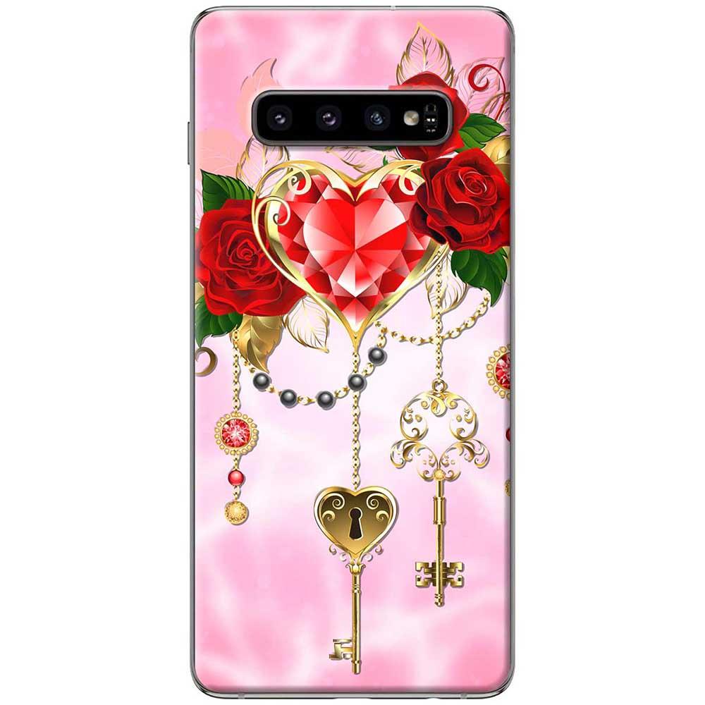 Ốp lưng  dành cho Samsung Galaxy S10 mẫu Chìa khóa tình yêu hồng