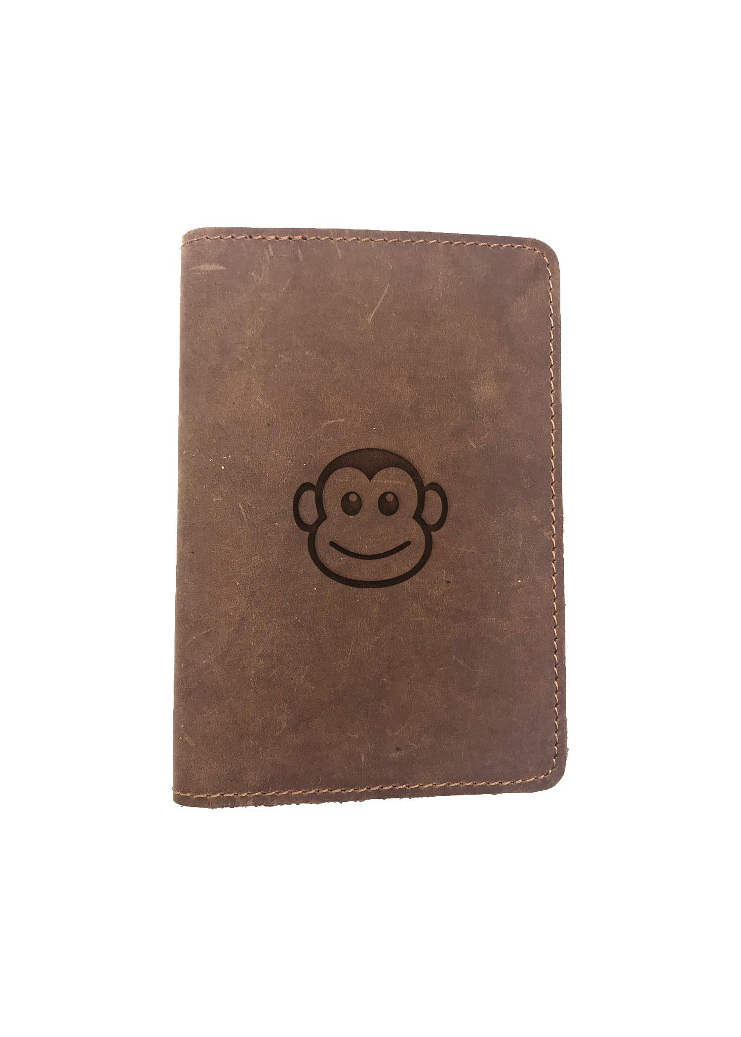 Passport Cover Bao Da Hộ Chiếu Da Sáp Khắc Hình Khỉ SUPER CUTE MONKEY FACE (BROWN)