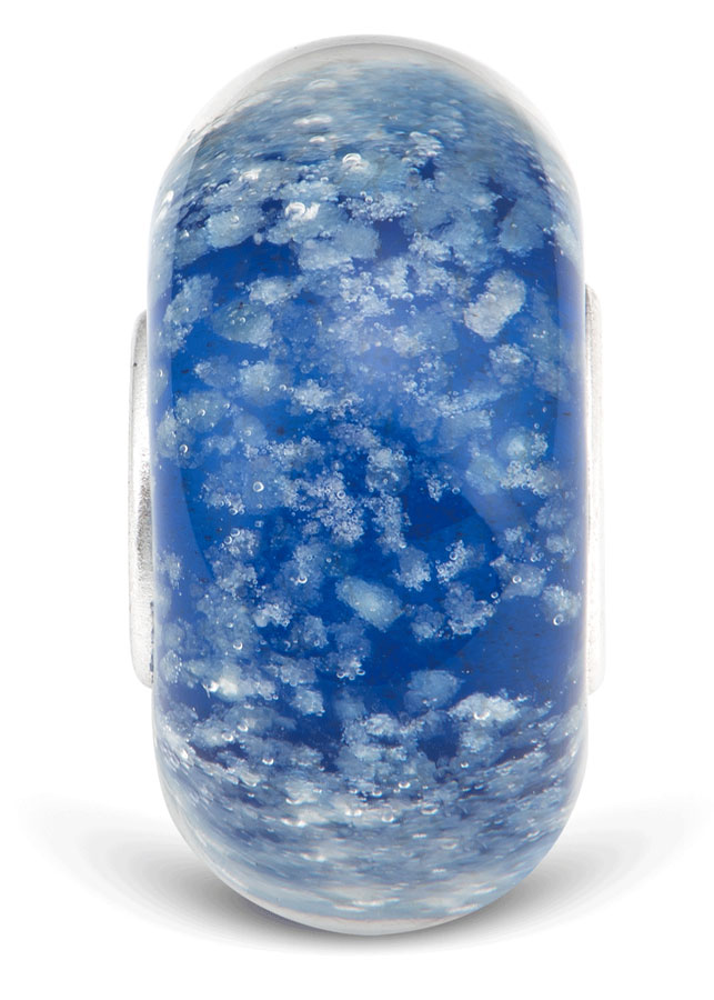 Hạt charm DIY PNJSilver hình dẹt tròn màu xanh dương 0000K060200-BO