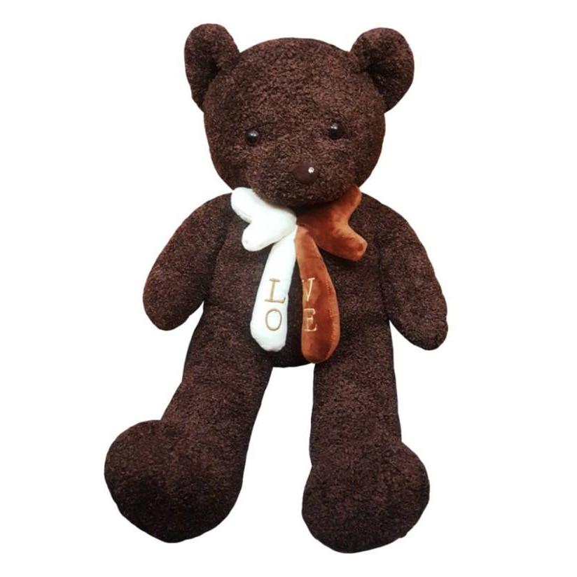 Gấu bông UNISU lông sợi chỉ đính nơ 1m - Màu nâu sẫm