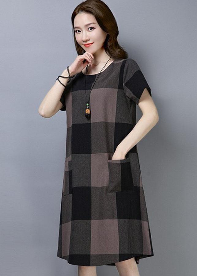 Đầm suông form rộng caro 5D0411