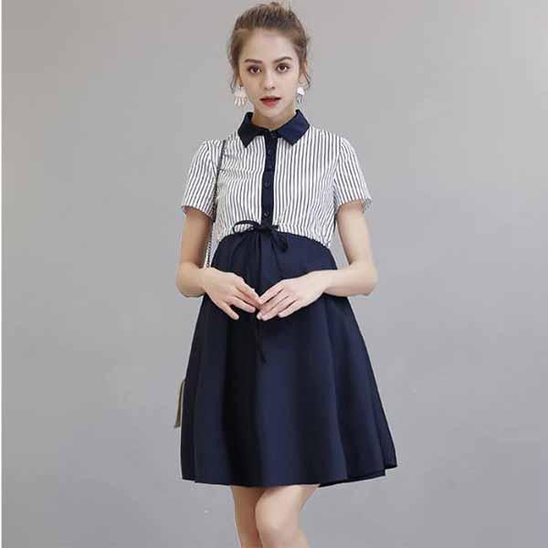 Váy Bầu Phôi Kẻ Buộc Bụng Cổ Đức - MYC 1202