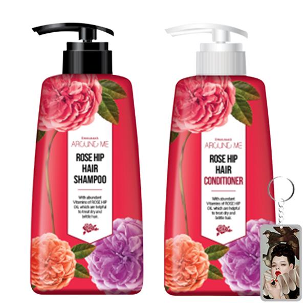 Cặp dầu gội - dầu xả hoa hồng Around Me Rose Hip Hair Hàn Quốc 2x500ml + Móc khóa