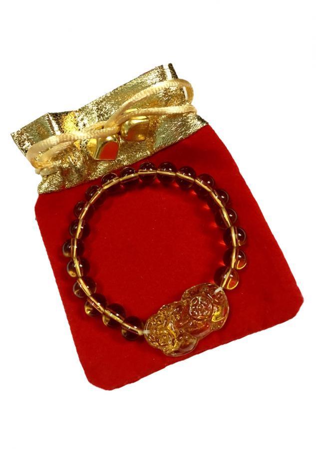 Vòng đeo tay đá thạch anh vàng gắn tỳ hưu may mắn VTH016 (màu vàng, 8li, có kèm túi nhung cao cấp)