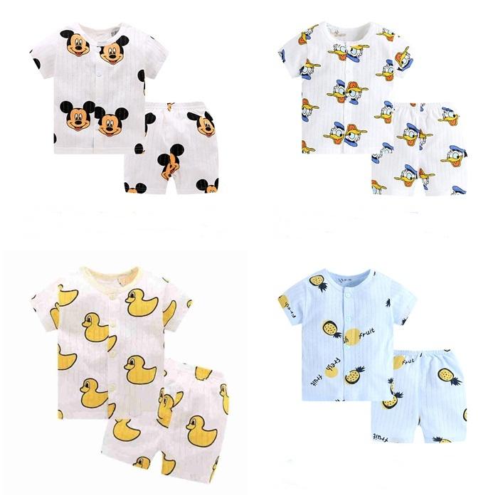 Bộ quần áo tay ngắn bé trai bé gái thun cotton giấy cài nút trước  cho bé từ 0 đến 3 tuổi