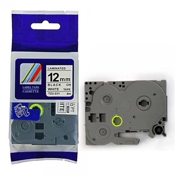 Combo 05 cuộn nhãn TZ2-231 tiêu chuẩn - Chữ đen trên nền trắng 12mm