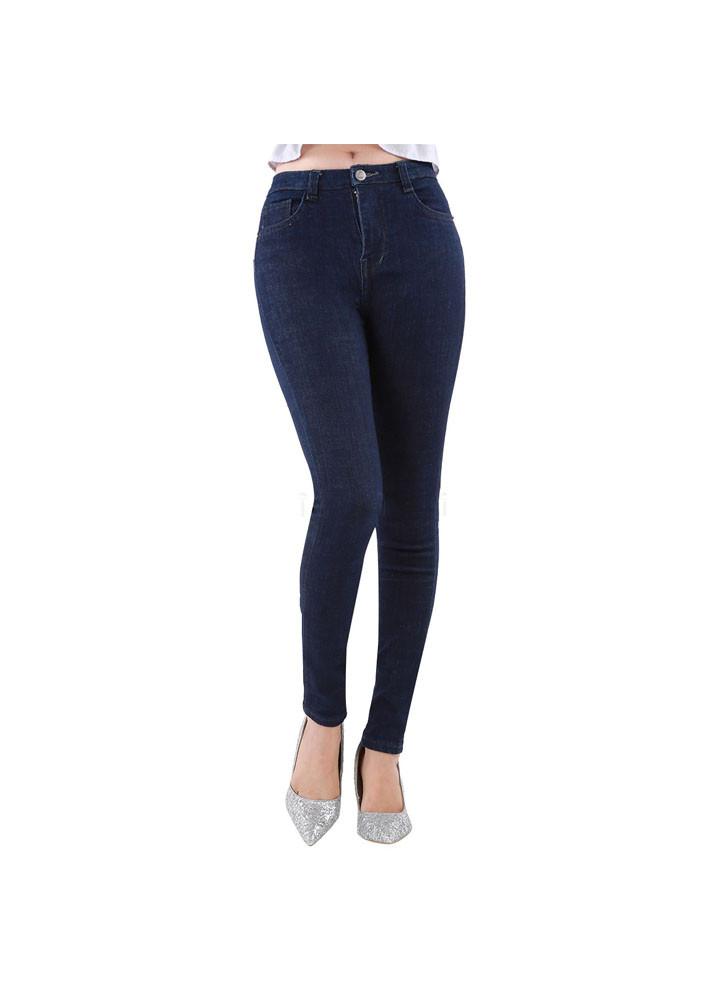 Quần jeans nữ xanh trơn