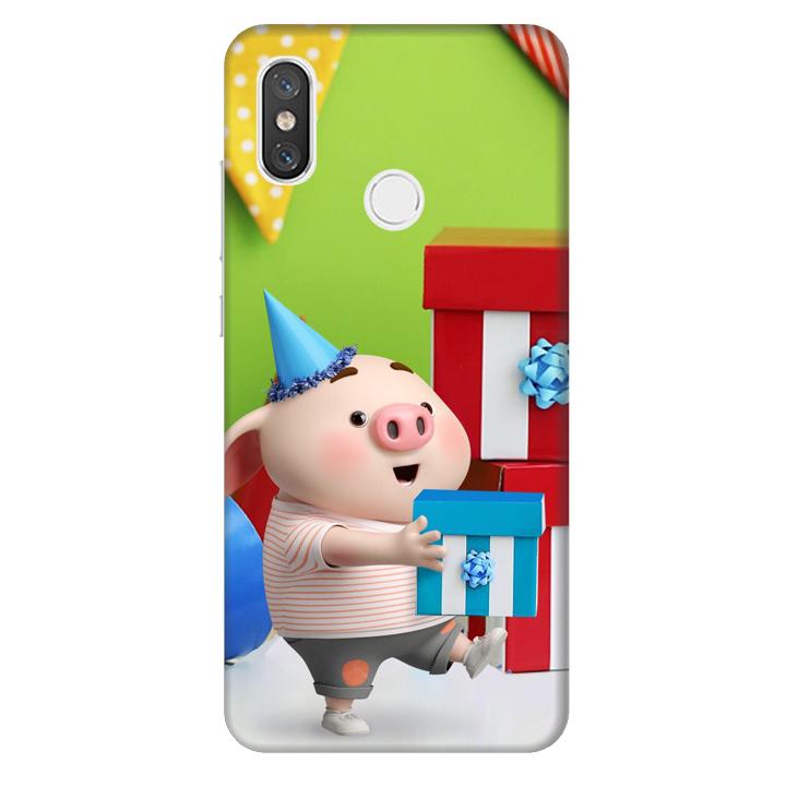 Ốp lưng nhựa cứng nhám dành cho Xiaomi Mi 8 in hình Heo Con Mừng Sinh Nhật