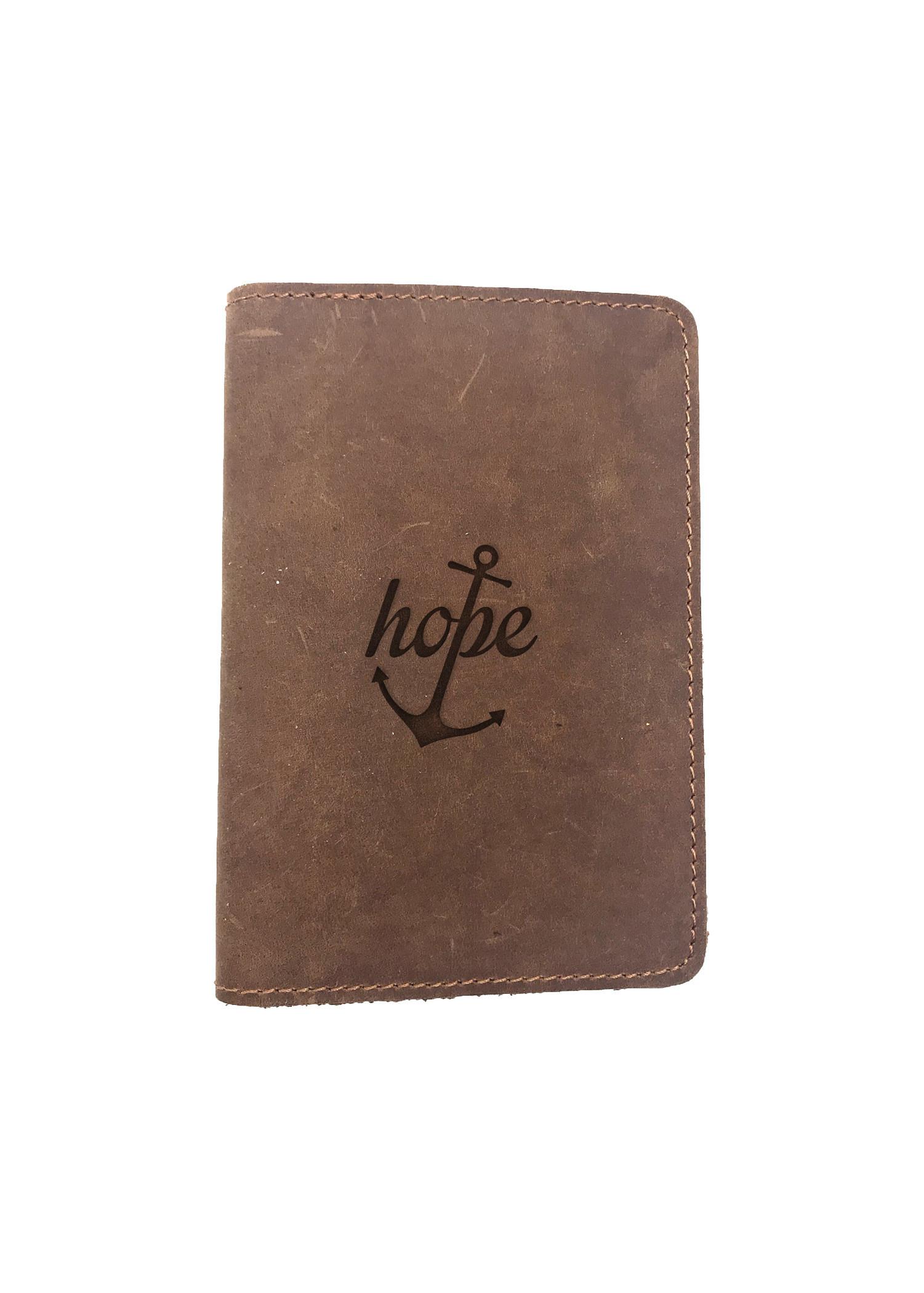 Passport Cover Bao Da Hộ Chiếu Da Sáp Khắc Hình Chữ CHRISTIAN HOPE (BROWN)