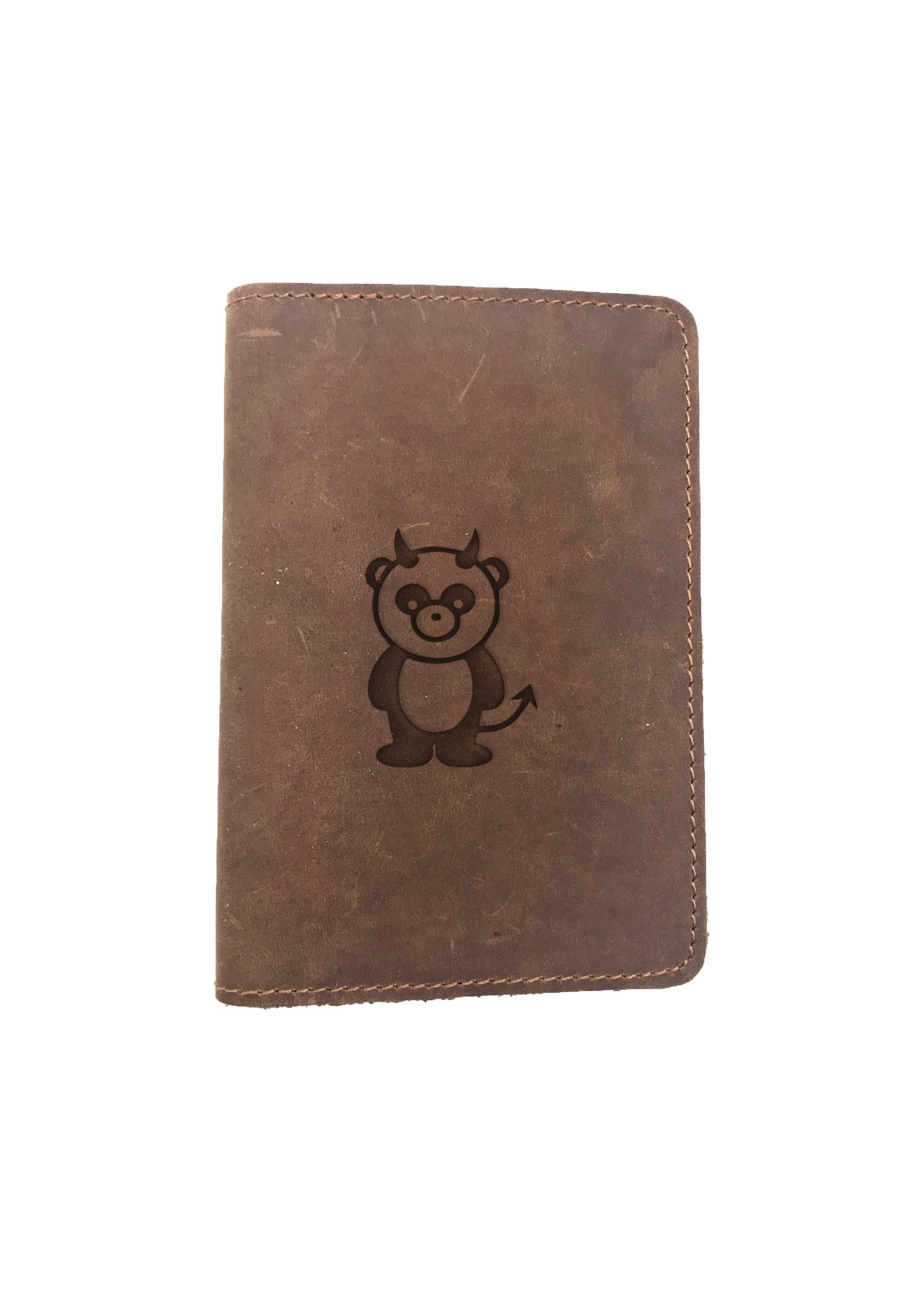 Passport Cover Bao Da Hộ Chiếu Da Sáp Khắc Hình Gấu trúc DEVIL PANDA (BROWN)