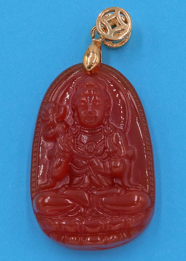 Mặt Phật Đại Thế Chí Bồ Tát thạch anh đỏ 3.6 cm