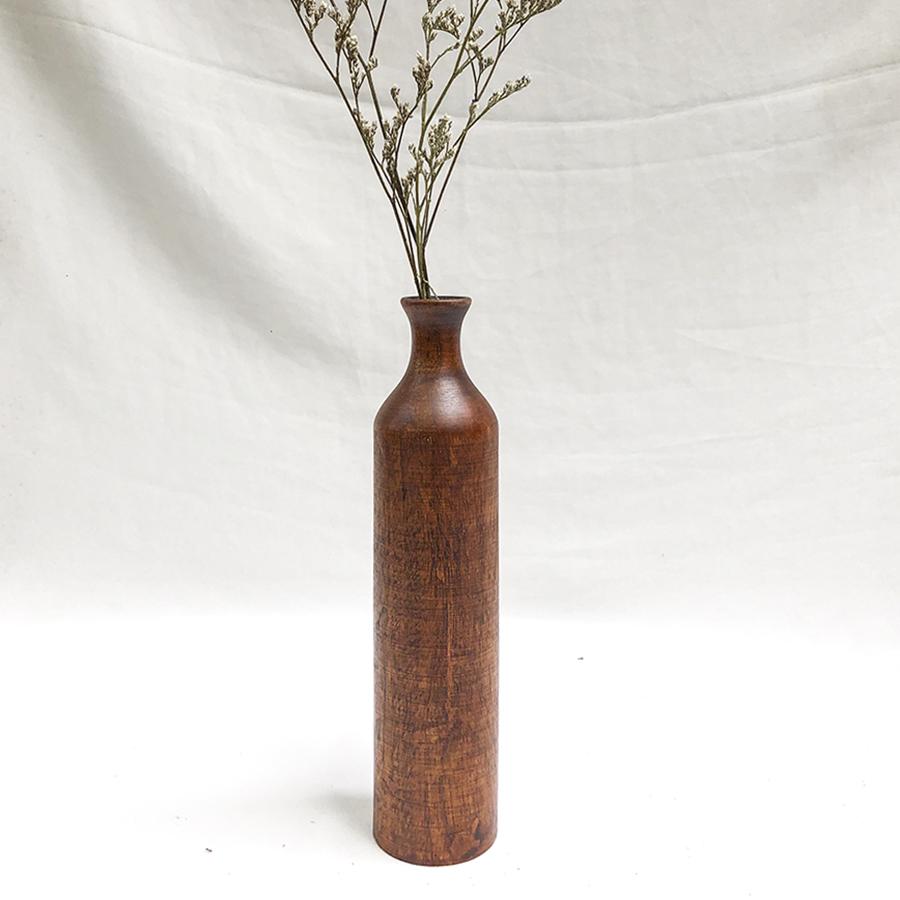 Lọ hoa gỗ hình trụ size nhỡ - lọ hoa gỗ thủ công