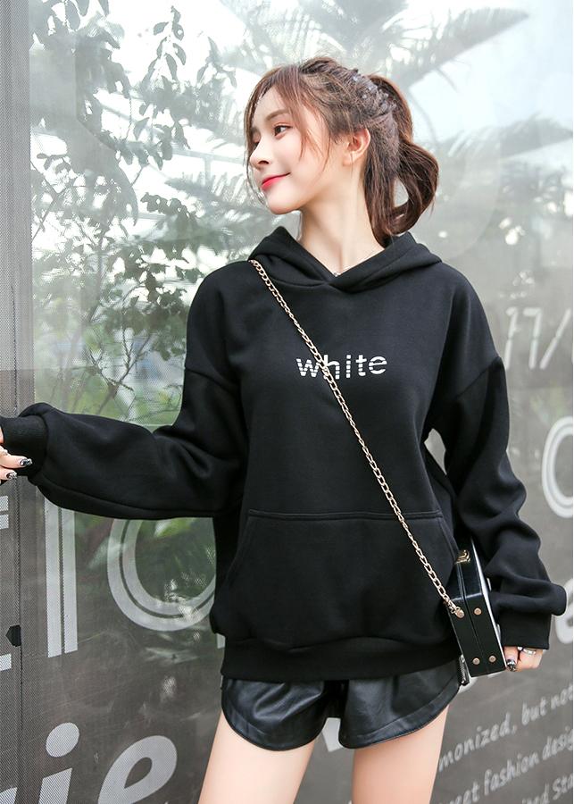Áo khoác hoodie nữ tay dài có chữ trước ngực 0148