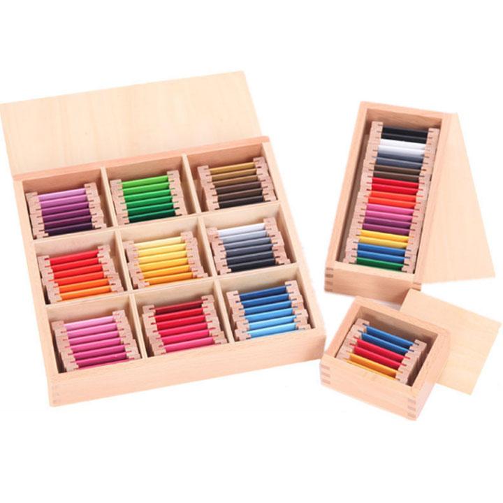 Bộ 3 hộp thẻ màu giáo cụ Montessori