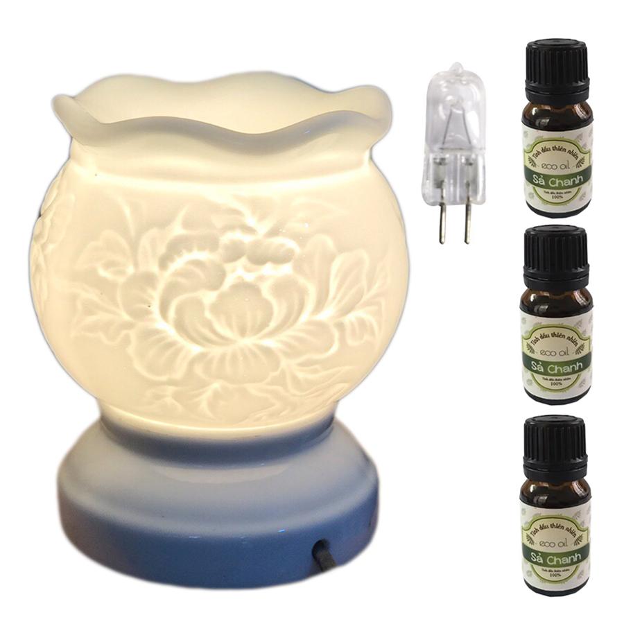 Đèn xông tinh dầu trắng size L  hình hoa mẫu đơn AH31và 3 tinh dầu sả chanh Eco 10ml và 1 bóng đèn