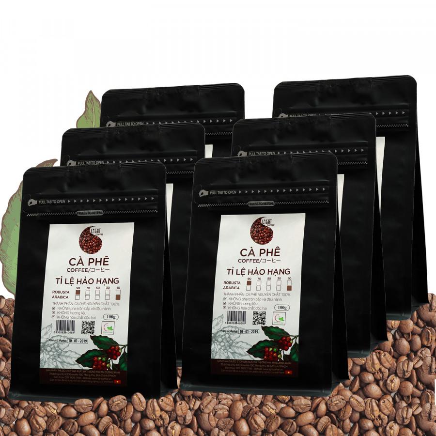 6 gói Cà phê hạt nguyên chất 100% Tỉ lệ Hảo Hạng - 90% Robusta + 10% Arabica - Light coffee - gói 100g - 1410911 , 4074816959438 , 62_7198367 , 611000 , 6-goi-Ca-phe-hat-nguyen-chat-100Phan-Tram-Ti-le-Hao-Hang-90Phan-Tram-Robusta-10Phan-Tram-Arabica-Light-coffee-goi-100g-62_7198367 , tiki.vn , 6 gói Cà phê hạt nguyên chất 100% Tỉ lệ Hảo Hạng - 90% Robus