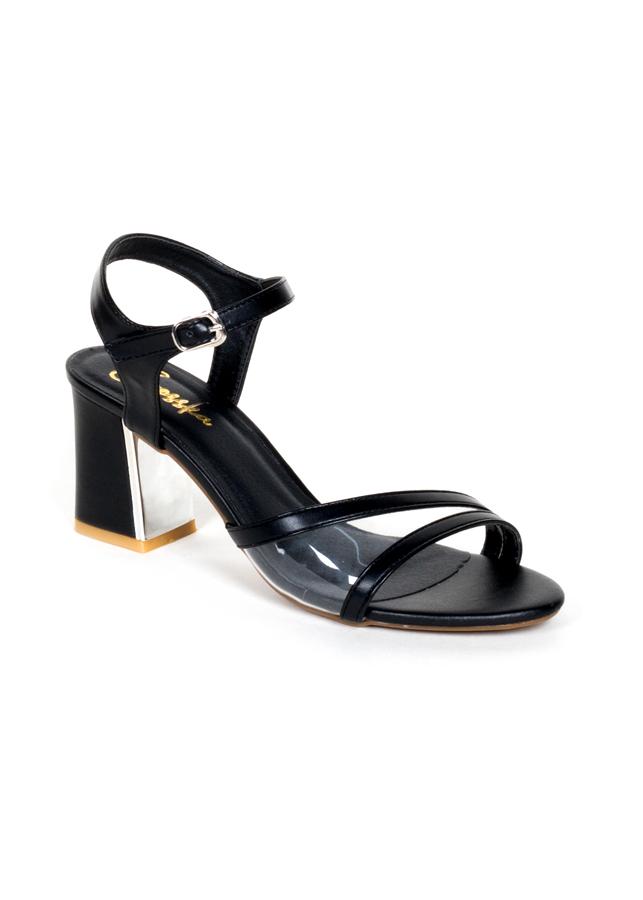 Giày Sandal Cao Gót Thời Trang Erosska Phối Mica Trong Cao 7cm EM020 - Màu Đen