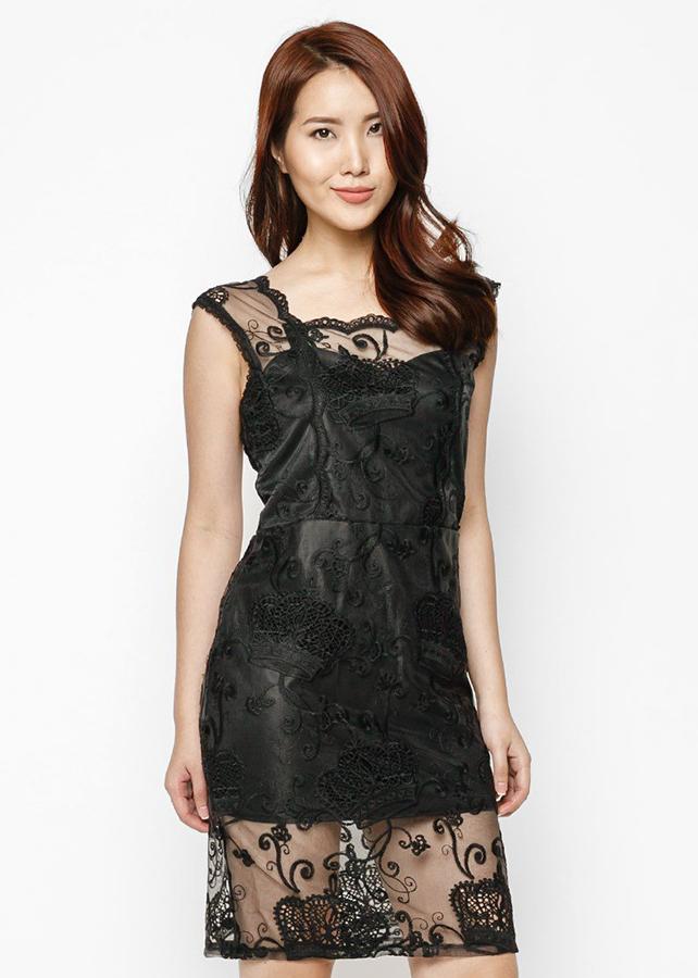 Đầm Ren Thêu Hàn Quốc Cao Cấp Black  White -HK 409