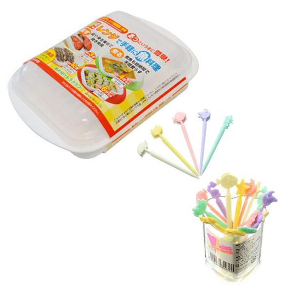 Combo hộp hấp thức ăn trong lò vi sóng + 20 nĩa ăn trái cây hình con vật ngộ nghĩnh nội địa Nhật Bản