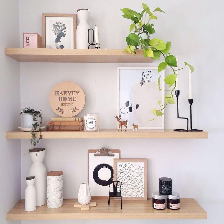 Bộ 3 kệ trang trí kệ treo tường thanh thẳng màu vân gỗ sáng
