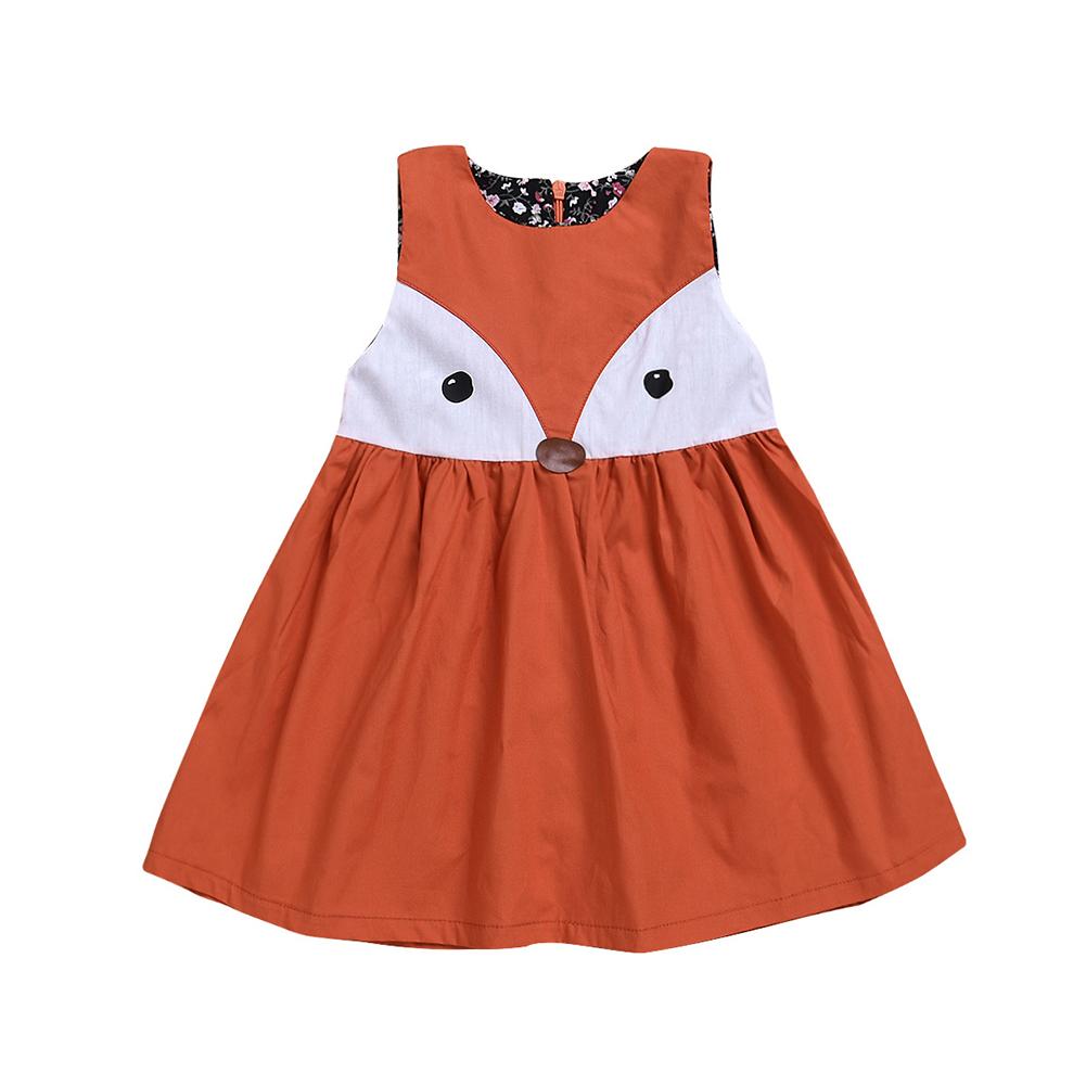 Lovely Fox Sleeveless Round Neck Casual Cotton Baby Kids Girls Summer Dress