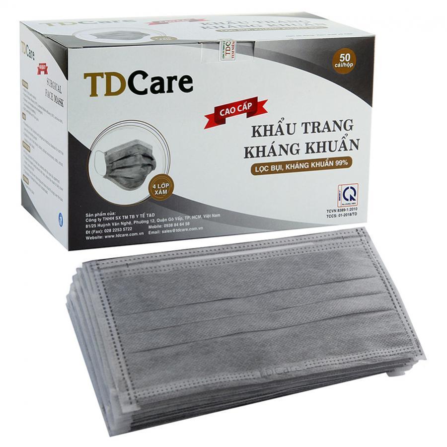 Khẩu trang kháng khuẩn TDCare 4 Lớp - Xám
