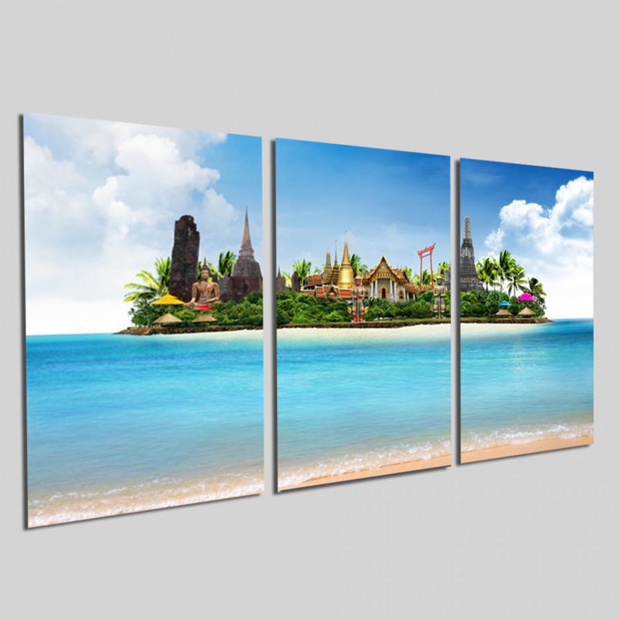 Bộ tranh 3 tấm phong cảnh biển tuyệt đẹp - tranh gỗ treo tường - dạng hình chữ nhật từng tấm