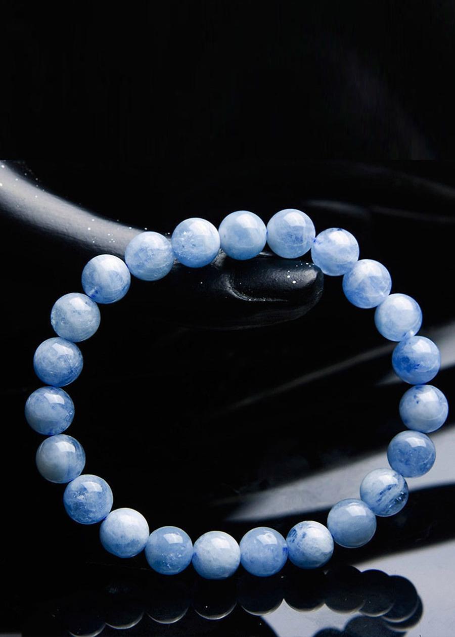 Gembank Lắc tay ngọc biển xanh aquamarine tự nhiên 8mm