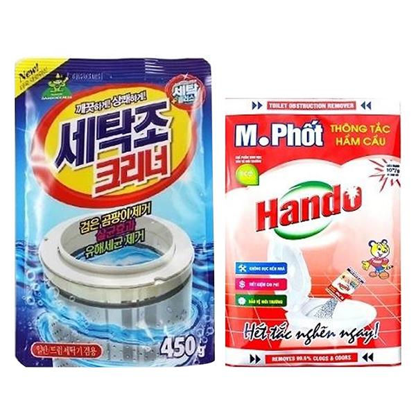 Combo Gói bột tẩy vệ sinh lồng máy giặt Hàn Quốc 450g Kèm Gói bột M.Phốt Hando 200g