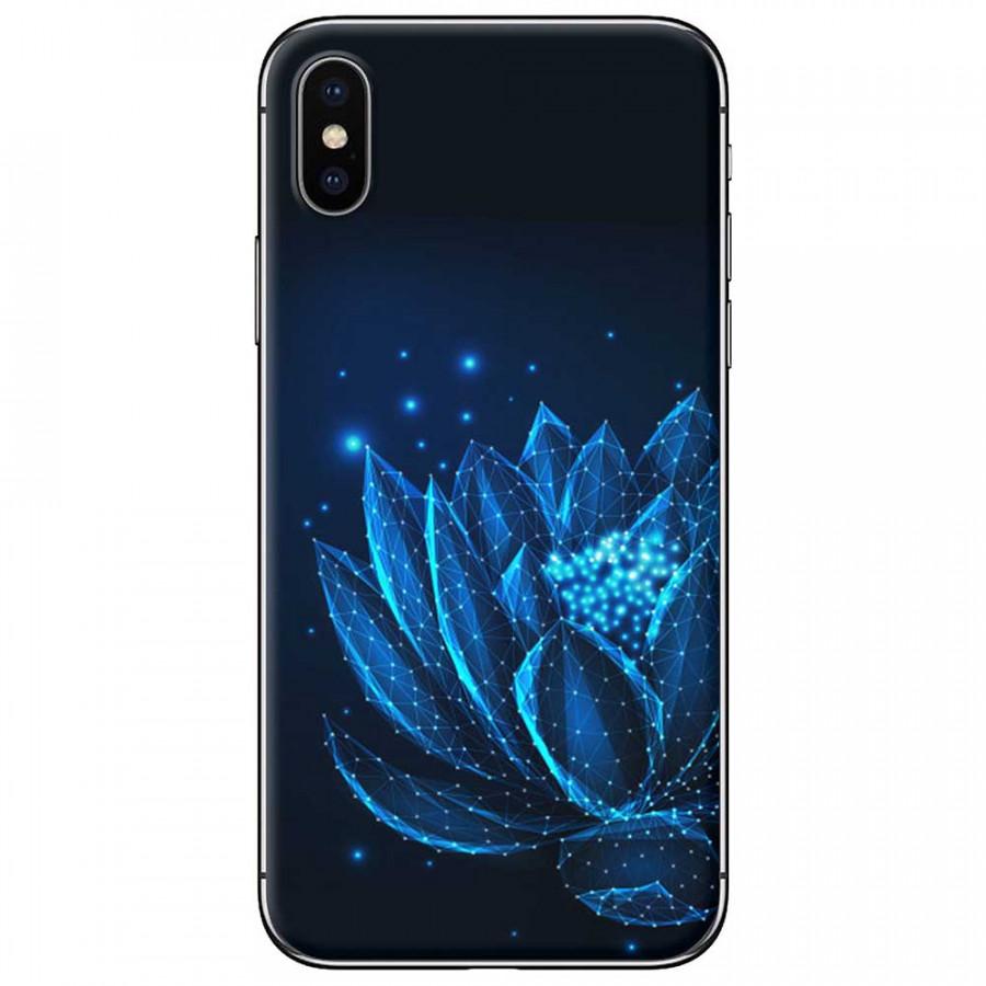 Ốp lưng dành cho iPhone XS Max mẫu Hoa sen ánh xanh