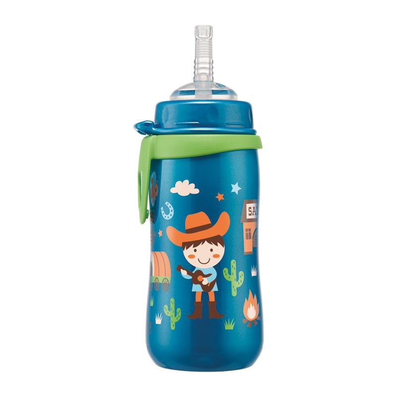 Bình tập uống PP cổ rộng 330ml cho bé trai có ống hút NIP35067