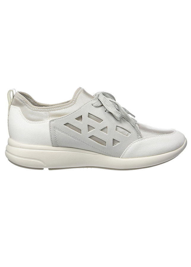 Giày Sneakers Nữ GEOX D OPHIRA B ELASTANE+GLIT.SYN OFF WHITE/WHITE - Trắng