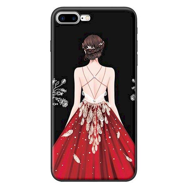 Ốp Lưng Dành Cho iPhone 7 Plus/ 8 Plus - Mẫu  Cô Gái Váy Đỏ Nền Đen