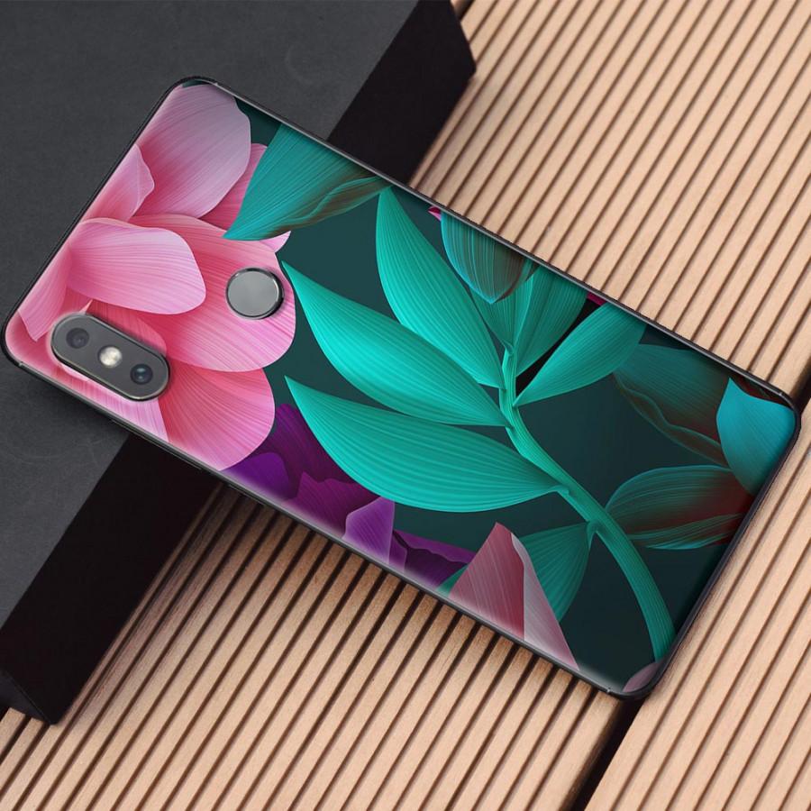 Ốp lưng dành cho Xiaomi Mi Mix 2S mẫu Hoa lá hồng xanh