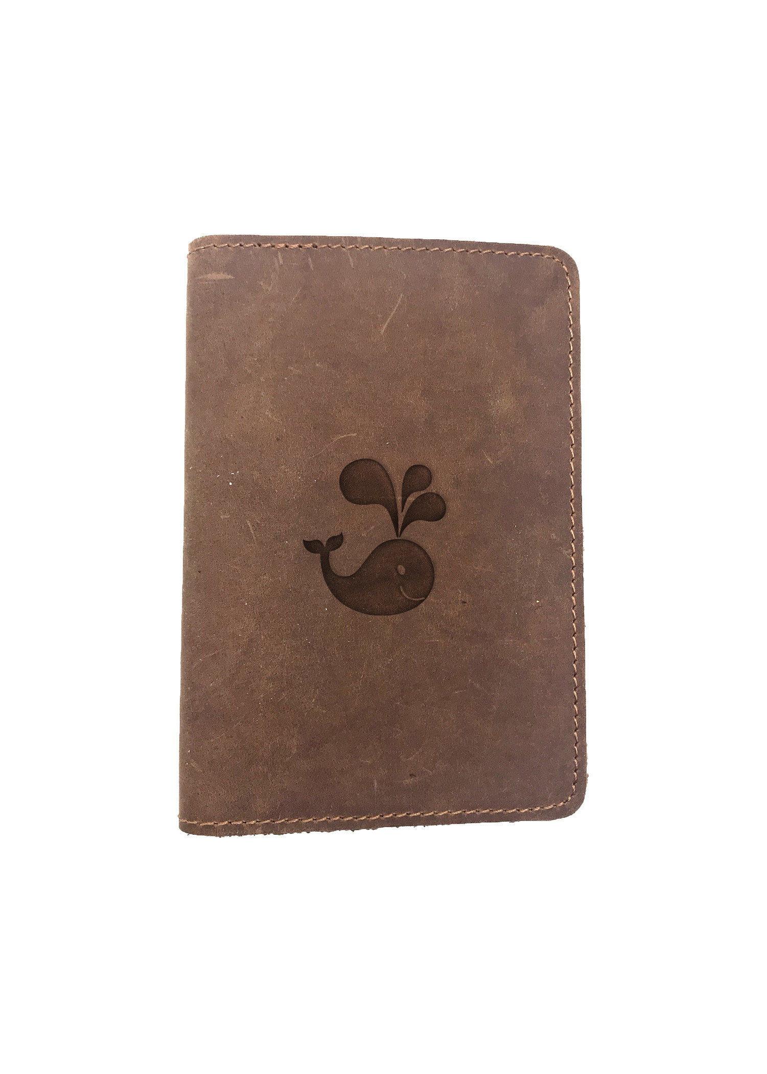 Passport Cover Bao Da Hộ Chiếu Da Sáp Khắc Hình Cá voi HAPPY WHALE (BROWN)
