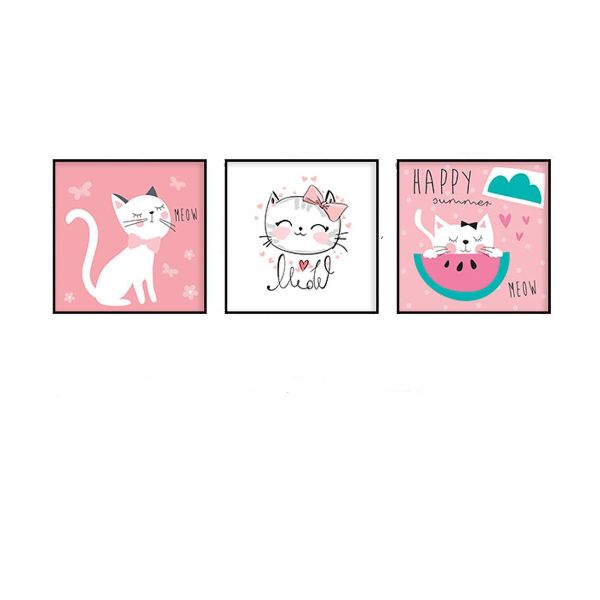 Bộ 3 Tranh Mèo Con Đáng Yêu