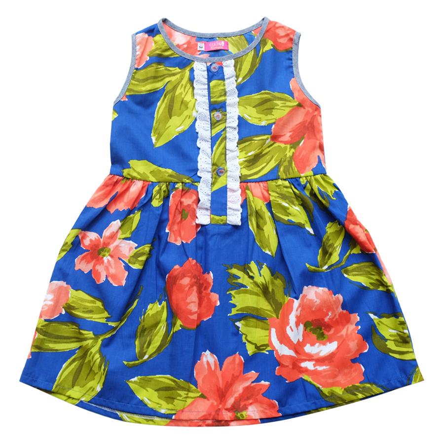 Đầm Hoa Cam Xẻ Trụ CucKeo Kids - T111821