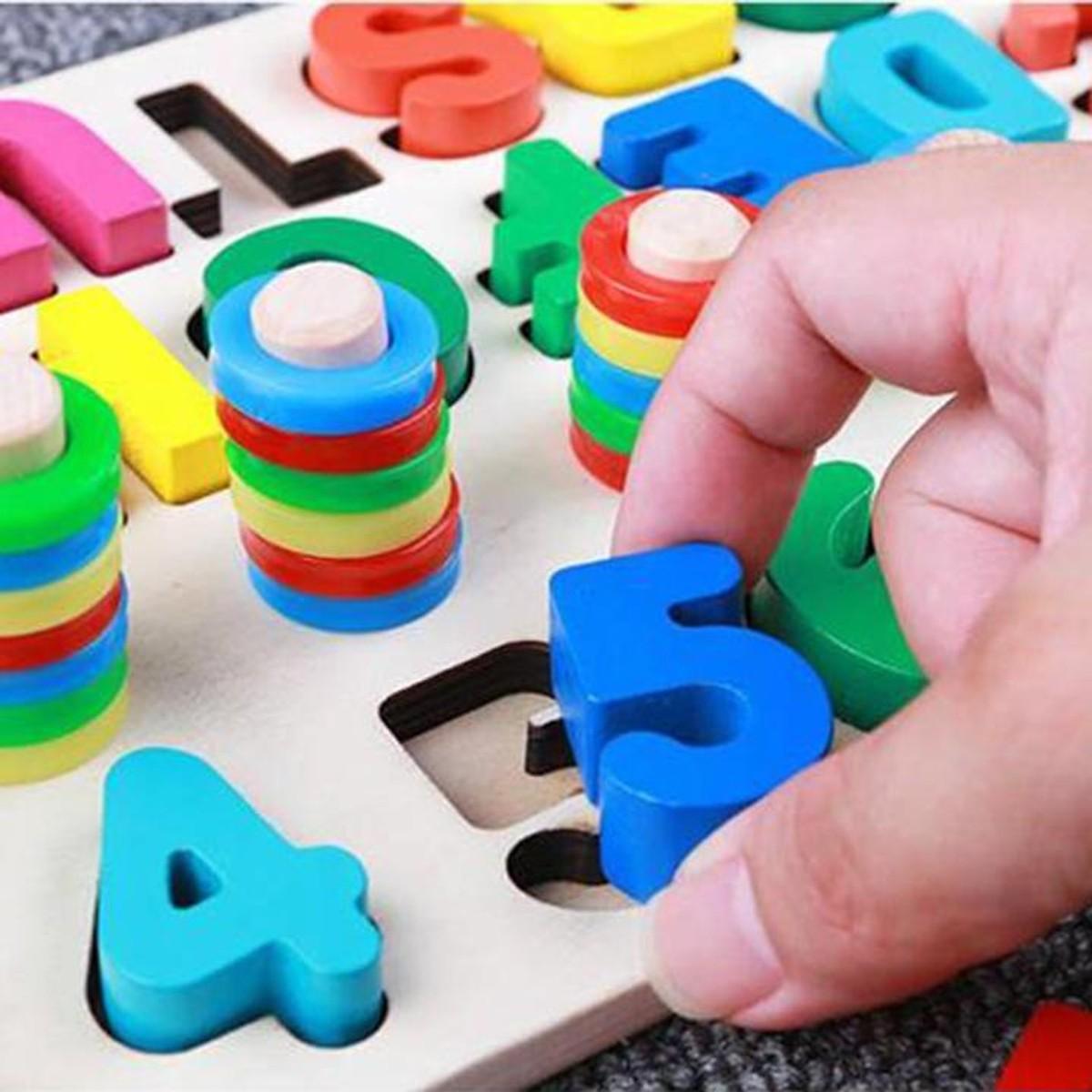 Đồ chơi gỗ cho bé học đếm số, cột tính bậc thang và bảng chữ cái, đồ chơi  giáo dục theo phương pháp...
