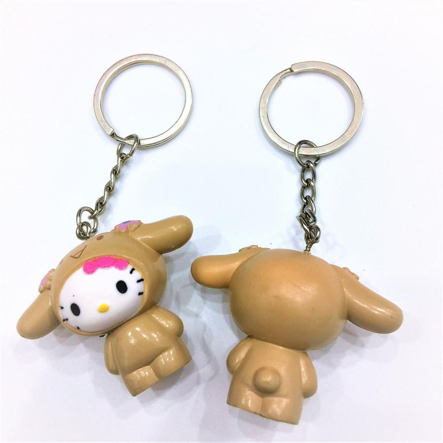 Combo 2 móc khóa hình mèo tai thỏ nâu đáng yêu - COUPLE