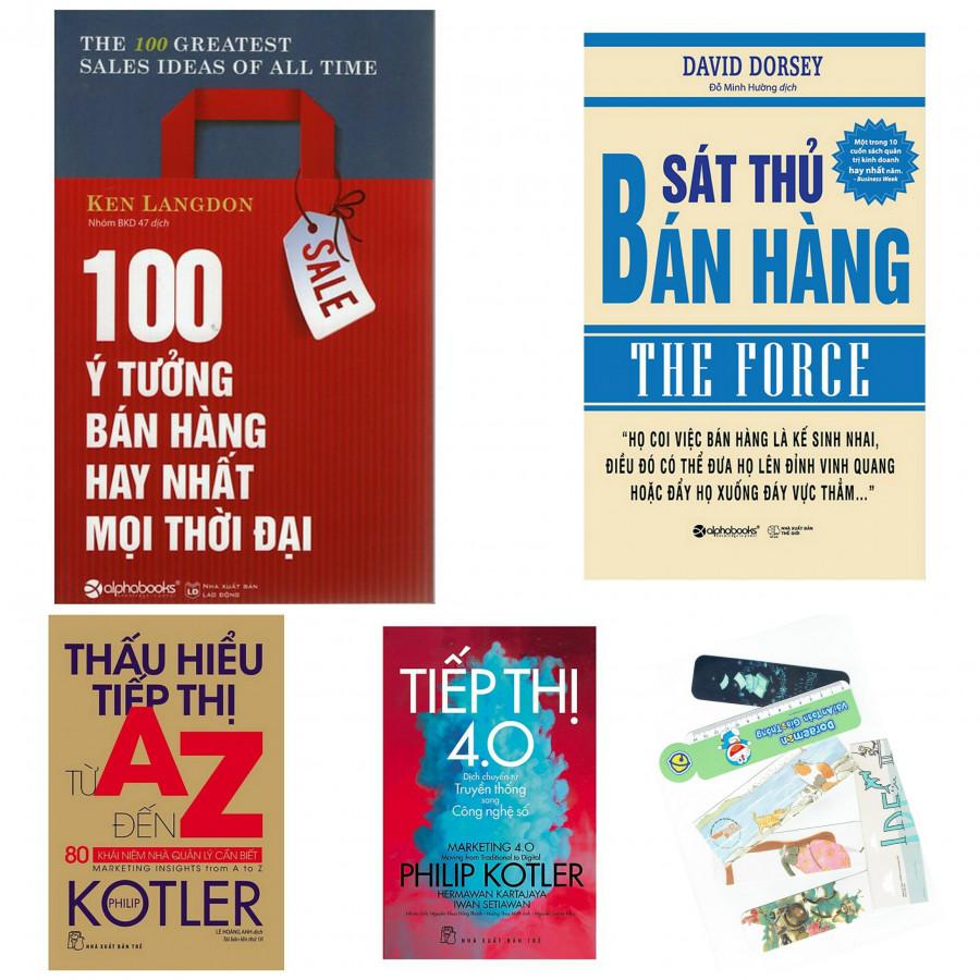 Combo 100 ý tưởng hay nhất bán hàng mọi thời đại+sát thủ bán hàng+thấu hiểu tiếp thị từ A-Z+tiếp thị 4.0(bản...